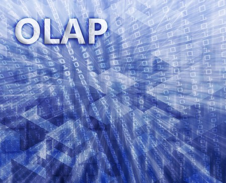 teknik: OLAP Business intellegence abstract, computer technology concept illustration