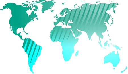 Map of the world illustration, with abstract line streaks illustration