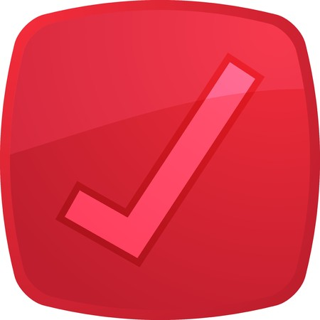 Confirm navigation icon glossy button, square shape Stock Photo - 4154629