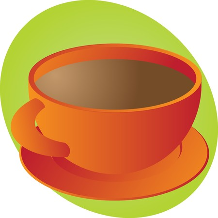Cup of coffee in round orange cup photo