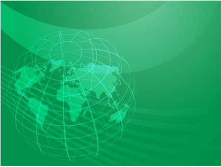 Map of the world illustration, with globe grid Stock Illustration - 4343081