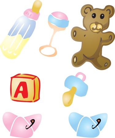 nappies: Illustration set of baby items: bottle, rattle, teddybear, alphabet bloc, pacifier, diapers