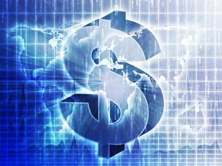 greenback: US Dollar symbol over world map