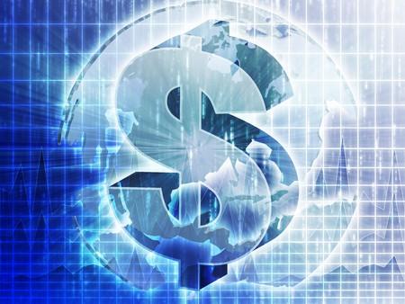 the americas: US Dollar symbol over globe of americas