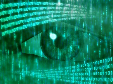 Eye viewing digital information represented by ones and zeros Stock Photo - 4352449