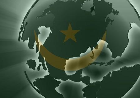 mauritania: Flag of Mauritania, national country symbol illustration