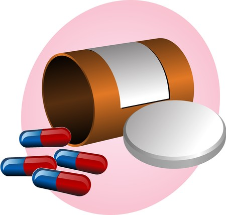 Pillbox with label, cap open and scattered pills. illustration illustration
