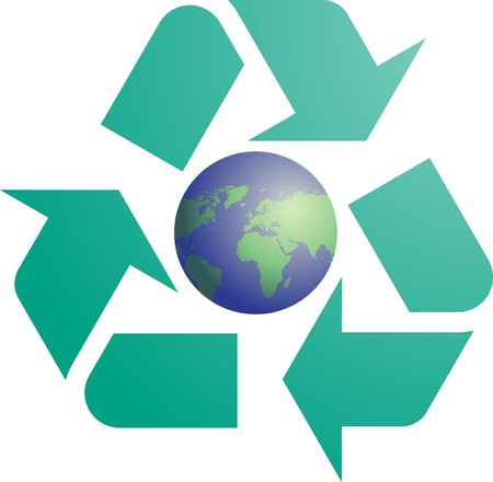 wastage: Recycling eco symbol illustration of three pointing arrows with world globe map