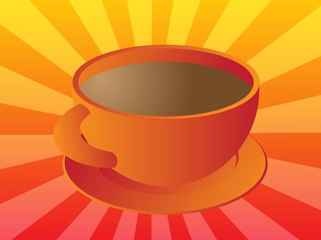 Cup of coffee in round orange ceramic cup Stock Photo - 4377970