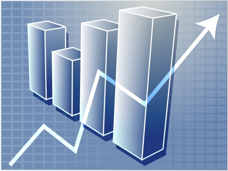 upward graph: Three-d barchart and upwards line graph financial diagram illustration over square grid