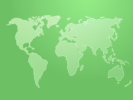 Map of the world illustration, simple outline on gradient color Stock Illustration - 4378052
