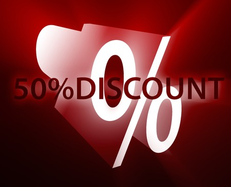 interact: Fifty percent discount, retail sales promotion announcement illustration Stock Photo