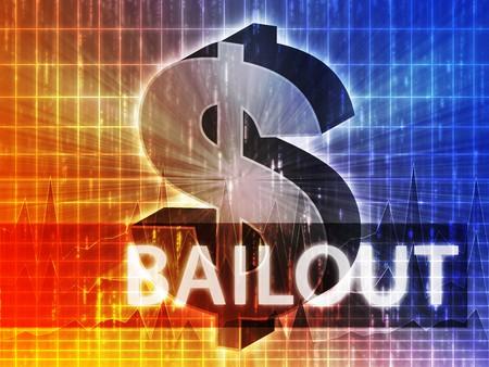 greenback: Bailout Finance illustration, dollar symbol over financial design Stock Photo