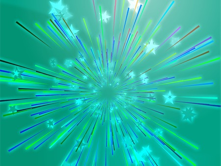 Central bursting explosion of dynamic flying stars, abstract illustration Stock Illustration - 4378082