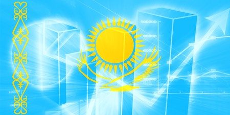 kazakhstan: Flag of Kazakhstan, national country symbol illustration