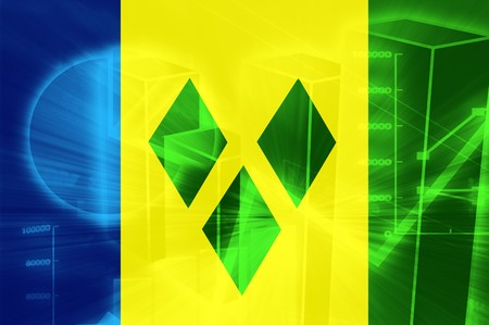 grenadines: Flag of Saint Vincent and Grenadines, national country symbol illustration Stock Photo
