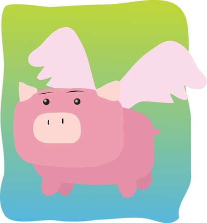 pig with wings: Pig with wings, illustration of when pigs fly