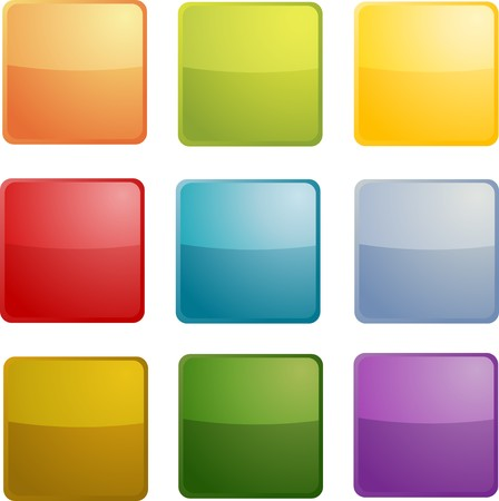 square buttons: Blank empty icon clipart illustration, square rectangle shape