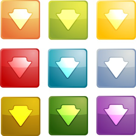 Down navigation icon glossy button, square shape, multiple colors photo