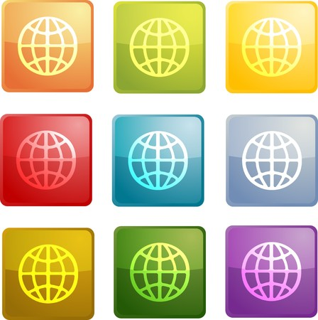 Globe navigation icon glossy button, square shape, multiple colors photo