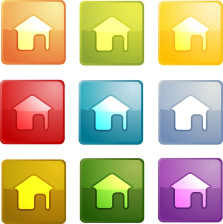 Home navigation icon glossy button, square shape, multiple colors photo
