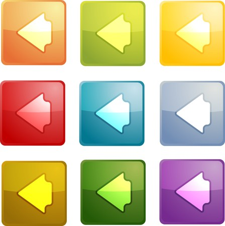 arrow left icon: Back navigation icon glossy button, square shape, multiple colors