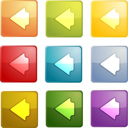 boton flecha: Volver icono brillante bot�n de navegaci�n, forma cuadrada, de m�ltiples colores Foto de archivo