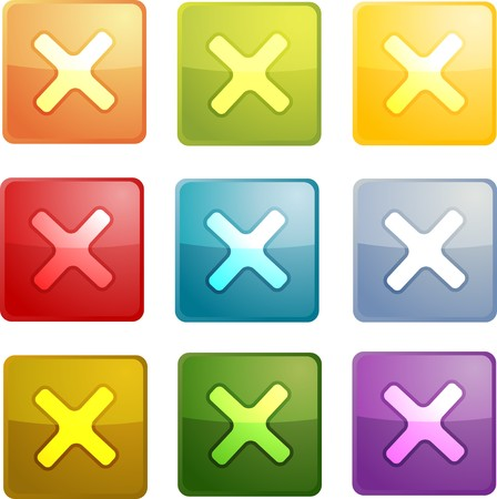 Cancel navigation icon glossy button, square shape, multiple colors photo