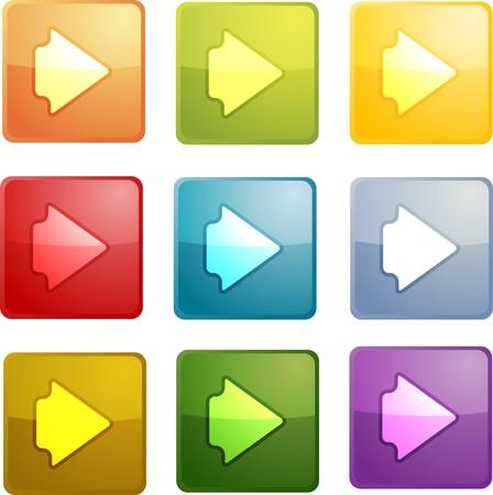 Forward navigation icon glossy button, square shape, mu photo