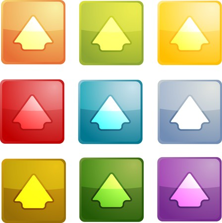 Up navigation icon glossy button, square shape, multiple colors photo