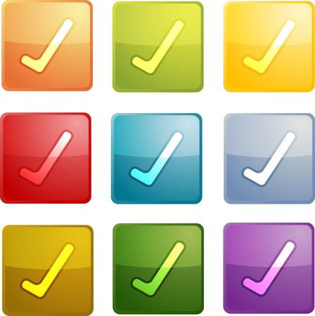 acknowledge: Yes navigation icon glossy button, square shape, multiple colors Stock Photo