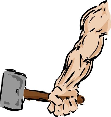 Muscular arm holding a hammer, sketch illustration illustration