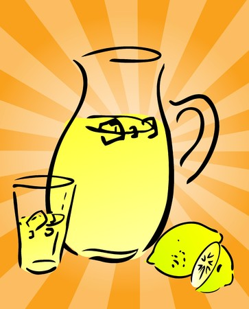 Lemonade and lemons, retro hand-drawn style. Lemon and lemon slices, pitcher and glass of lemonade photo