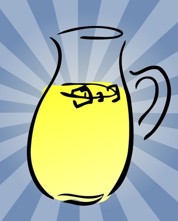 Pitcher of fresh lemonade, retro hand-drawn style photo