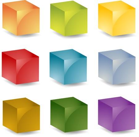 icon 3d: Multicolored 3d isometric cube  icon set illustration