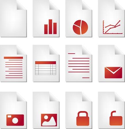 Document file types icon set clipart illustration illustration