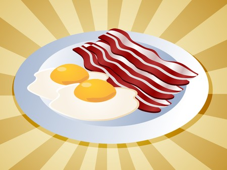eggs and bacon: Bacon and eggs breakfast on plate  illustration