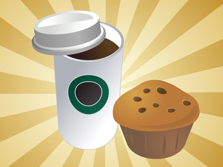 coffee to go: Coffe in disposable cup with muffin breakfast to go Stock Photo
