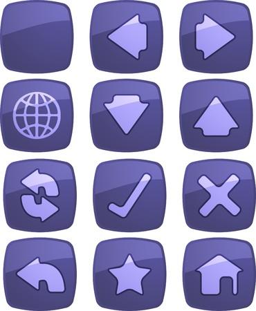 Basic navigation icon set , glossy aqua look photo