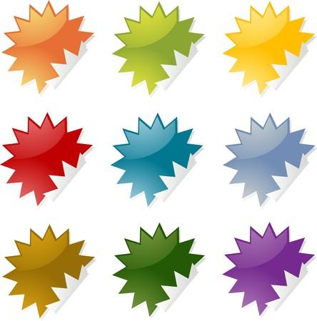 spiky: Blank spiky star burst shaped sticker icon set