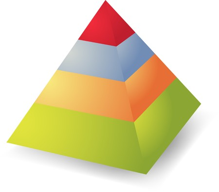 ranked: Layered heirarchical pyramid illustration, 3d colored Stock Photo