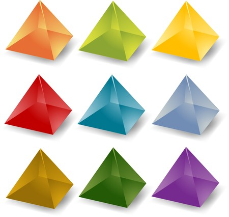 rectangular: Blank editable multicolored crystal pyramid icon set