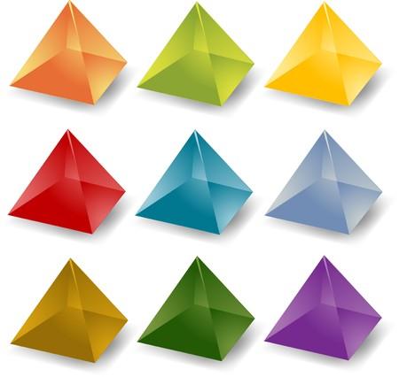 gemstone: Blank editable multicolored crystal pyramid icon set