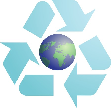 international recycle symbol: Recycling eco symbol illustration of three pointing arrows with world globe map