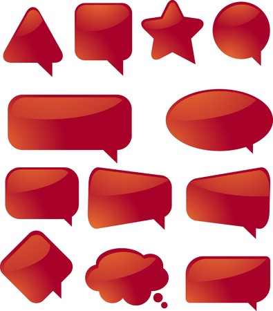 Blank empty speech bubble icons, assorted shapes photo