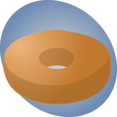 carb: Plain donut with no decoration, pastry illustration