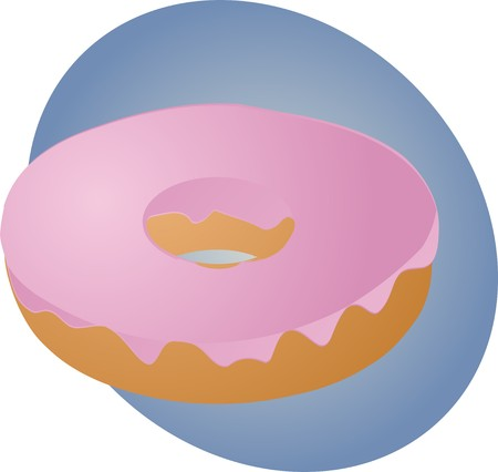 glazed: Donut with pink glazed icing frosting, illustration
