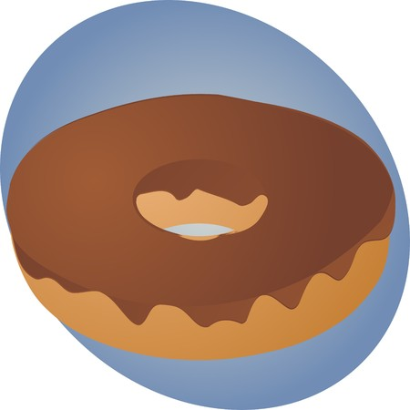 fudge: Donut with chocolate fudge icing, pastry illustration