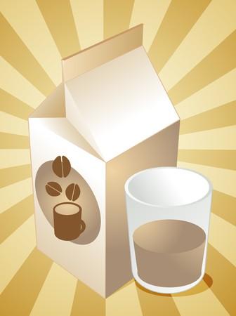 carton de leche: Caf� con leche de cart�n llena de vidrio ilustraci�n