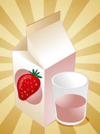filled: Strawberry milk carton with filled glass illustration